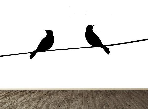 Vinilo pájaros en alambre